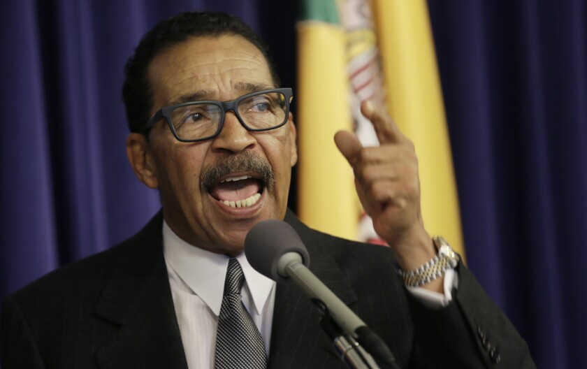 Los Angeles City Council President Herb Wesson discusses the speaker card submitted May 11 by Wayne Spindler, a council critic and Encino attorney.