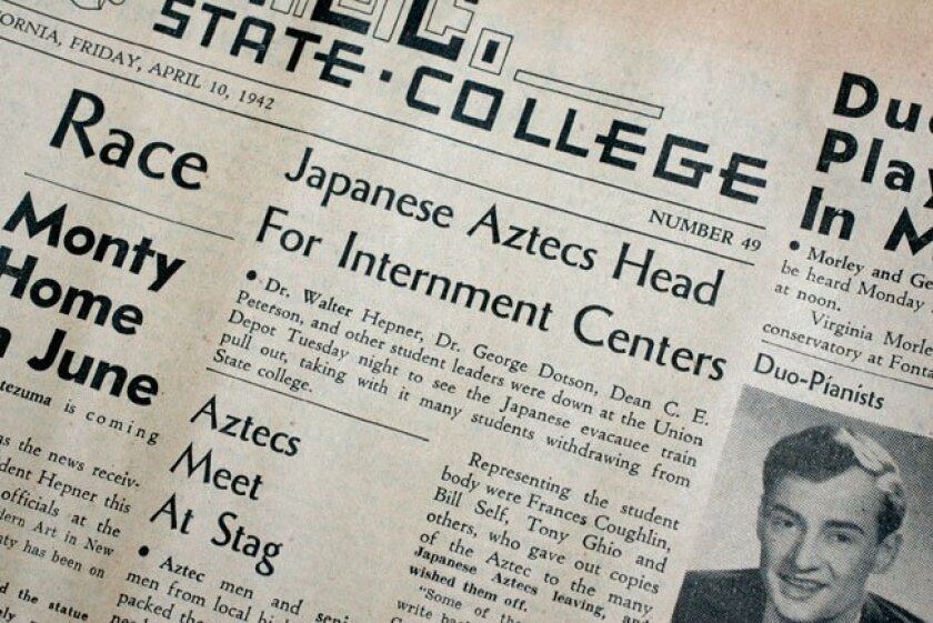 The front page of the April 10, 1942 issue of the San Diego State College student newspaper contained a story about the school's Japanese-Americans being sent to internment camps.