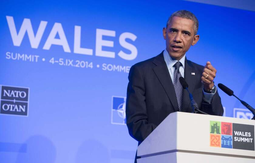 President Obama speaks at the NATO summit in Wales on Sept. 5.