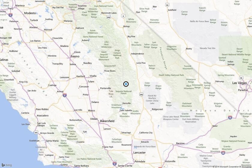 A map showing the location of the epicenter of Sunday evening's quake near Kernville.