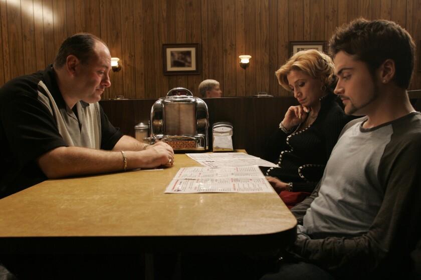 James Gandolfini (Tony Soprano), Edie Falco (Carmela) and Robert Iler (Anthony Jr.) are seen in the show's finale.