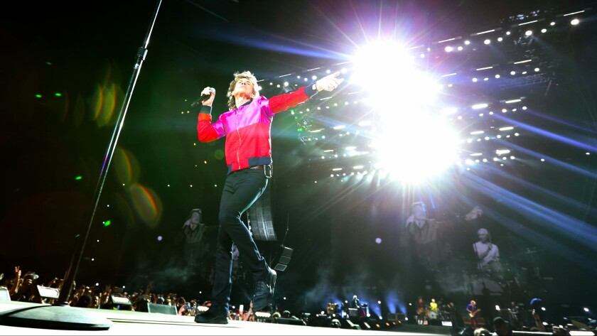 Mick Jagger performs with the Rolling Stones on Friday night at Desert Trip.
