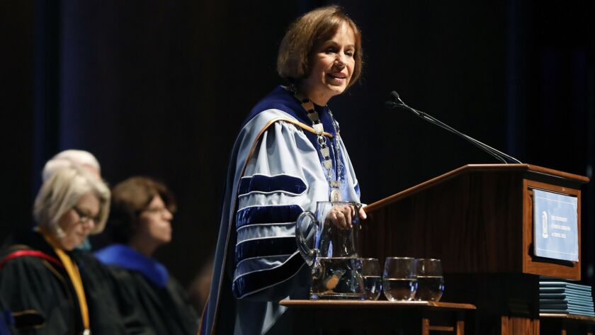 FILE-In this Friday, Oct. 12, 2018 file photo, UNC Chapel Hill Chancellor Carol Folt speaks during U