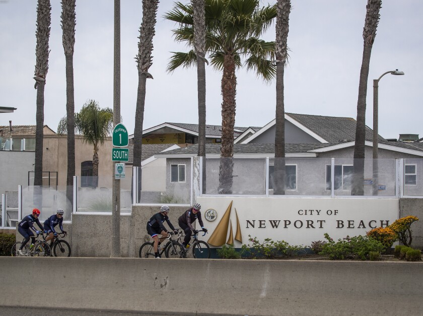 Cyclists have the street to themselves in Newport Beach