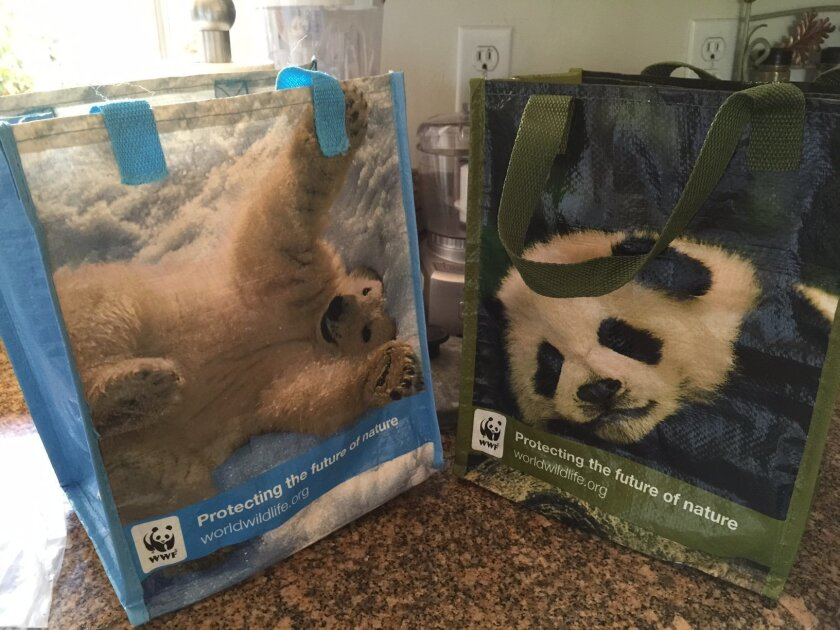 World Wildlife Fund has small, recyclable bags perfect for grocery shopping.