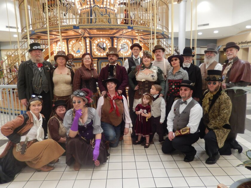 Members of the San Diego steampunk community gathered last October at the carousel in Westfield Parkway Plaza mall in El Cajon. The group was evicted this month from Westfield Plaza Camino Real in Carlsbad because security guards said their costumes violated the mall's code of conduct.