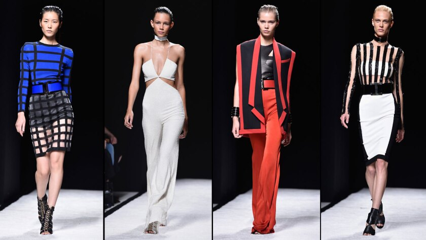 Four looks from the Balmain spring/summer 2015 collection.
