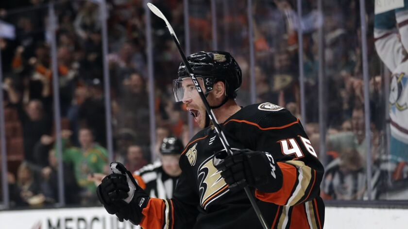 The Ducks' Ben Street celebrates after scoring against the Arizona Coyotes.