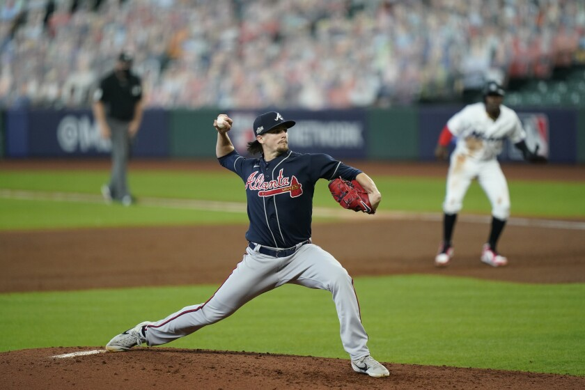 Atlanta Braves starting pitcher Kyle Wright delivers during the second inning of Game 3.