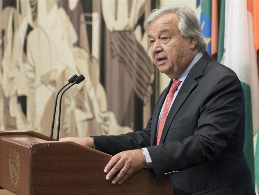 El secretario general de la ONU, António Guterres, habla durante una conferencia de prensa. EFE/Mark Garten/Cortesía ONU/SOLO USO EDITORIAL/NO VENTAS
