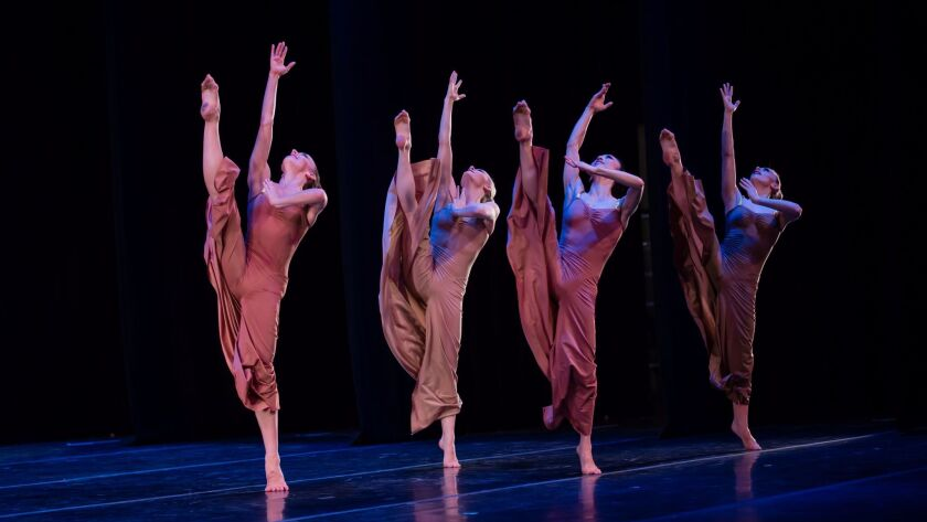 """From left, Anne Souder, Charlotte Landreau, So Young An and Marzia Memoli perform """"Diversion of Ange"""