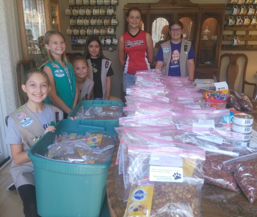 Girl Scout Troop 2103 members collect and bag donated dog and cat food to help seniors provide food for their pets. The pet food drive will help the Scouts earn a Bronze Award. Shown from left are Sarah Stokes, Brooke Lockyer, Peyton Denny, Melody Robison, Makayla Smith and Brenna Case. Troop members not pictured are Brooke Sutherland, Maggie Burger and Renee Roberts.