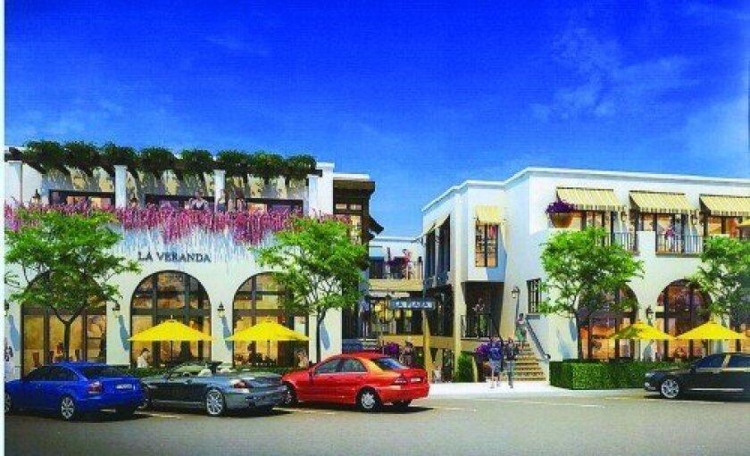 Artist's rendering of the La Plaza La Jolla shopping complex, currently under construction at Wall Street and Girard Avenue. The project's developers wish to establish a passenger loading and valet zone on the Girard Avenue side of the project.