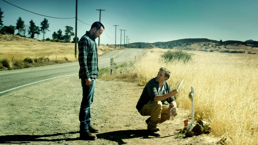 "(L-R) - Justin Benson and Aaron Moorhead in a scene from ""The Endless."" Credit: WellGo USA"