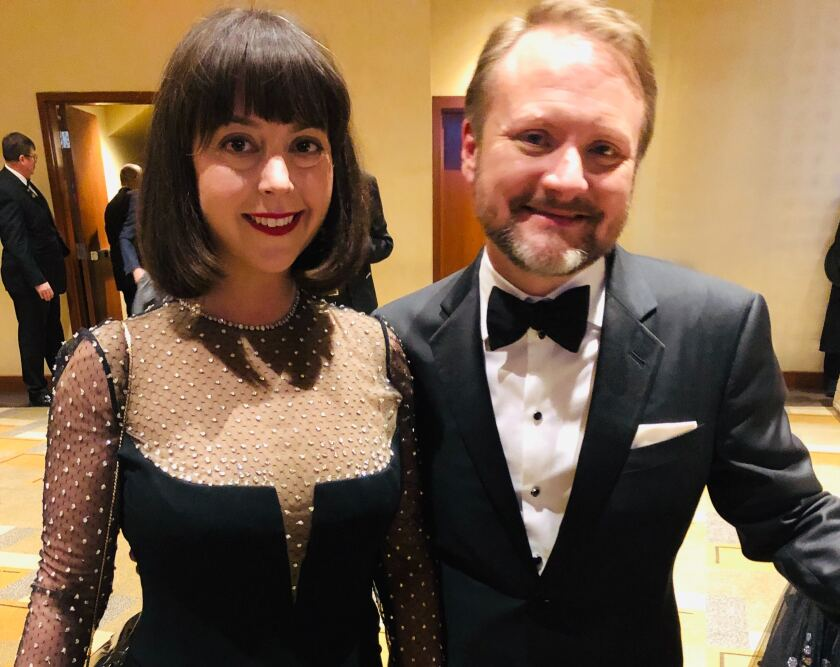 "Karina Longworth and ""Knives Out"" director Rian Johnson at the 92nd Academy Awards."
