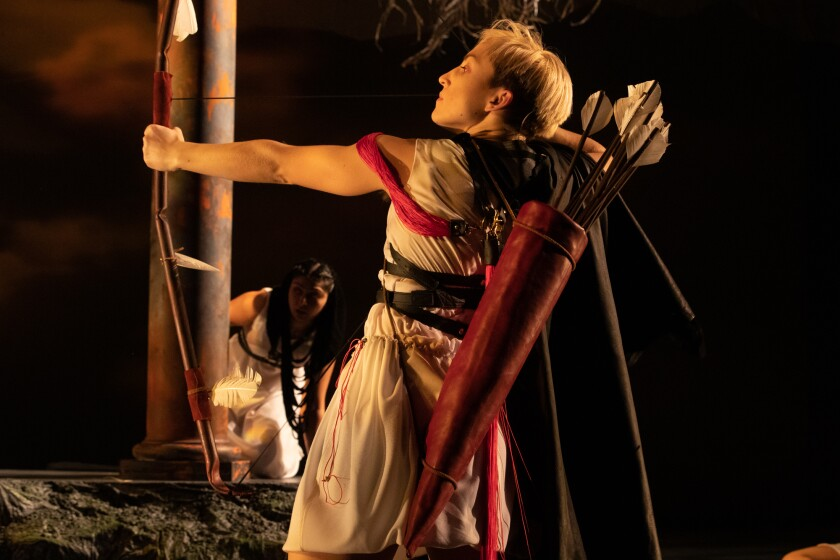 """Odysseus, played by Sophia Metcalf, returns to Ithaca in UC Irvine's production of """"The Penelopiad,"""" which has an all-female cast."""
