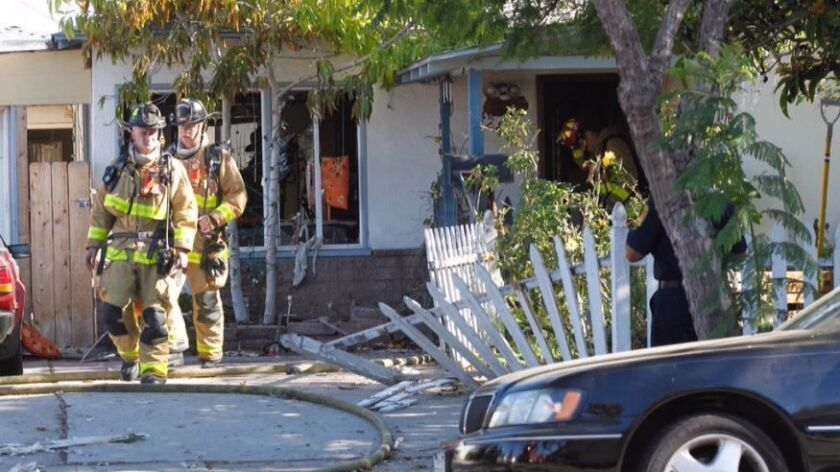 A gas line explosion caused a fire at a house in City Heights Monday afternoon, sending two people to a hospital, a fire official said. One man was seriously burned.