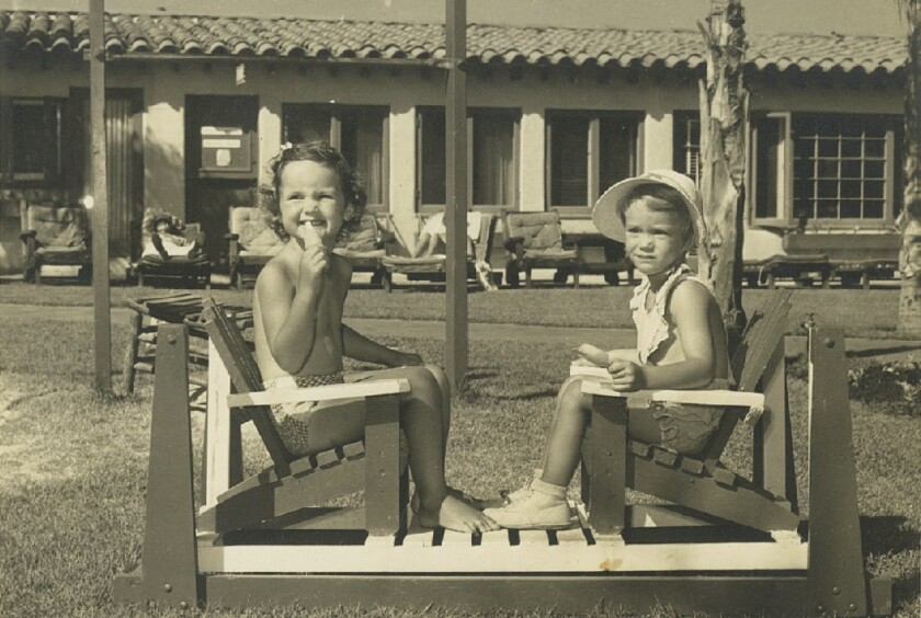 Lifelong friends Melinda Merryweather, left, and Peggy Goldwater pose at the La Jolla Beach & Tennis Club when both were four years old.