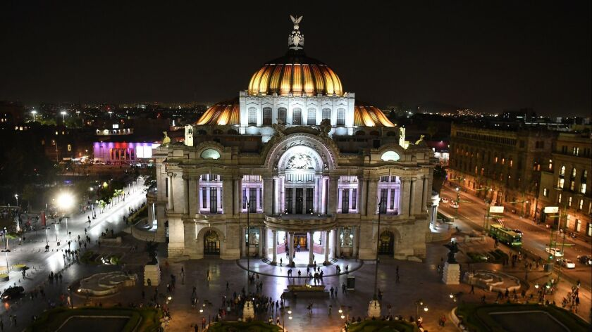 MEXICO CITY, MEXICO FEBRUARY 20, 2018-A view from the Sears buiding of the Palacio de Bellas Artes i