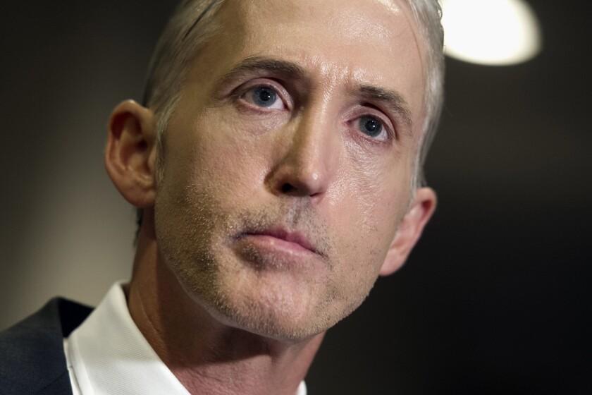 House Select Committee on Benghazi Chairman Rep. Trey Gowdy (R-S.C.) speaks on Capitol Hill on Sept. 10.