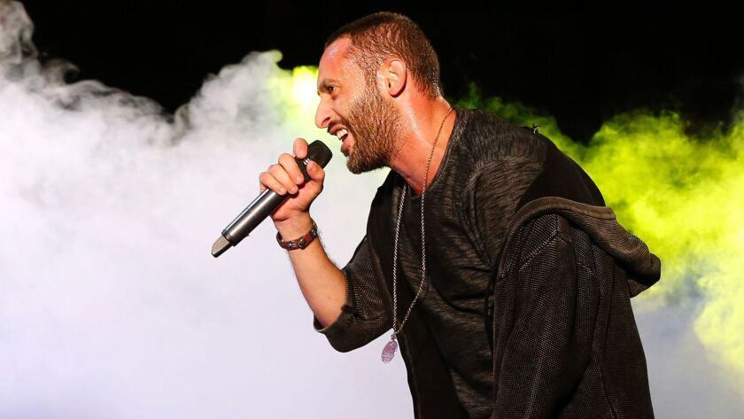 Tamer Nafar performs during a festival in the northern Arab-Israeli town of Sakhnin on Oct. 23.