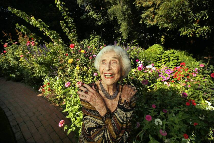 Hedda Bolgar at 99 in the garden of her Brentwood home. She continued to see psychoanalysis patients until a few weeks before her death on Monday at 103.