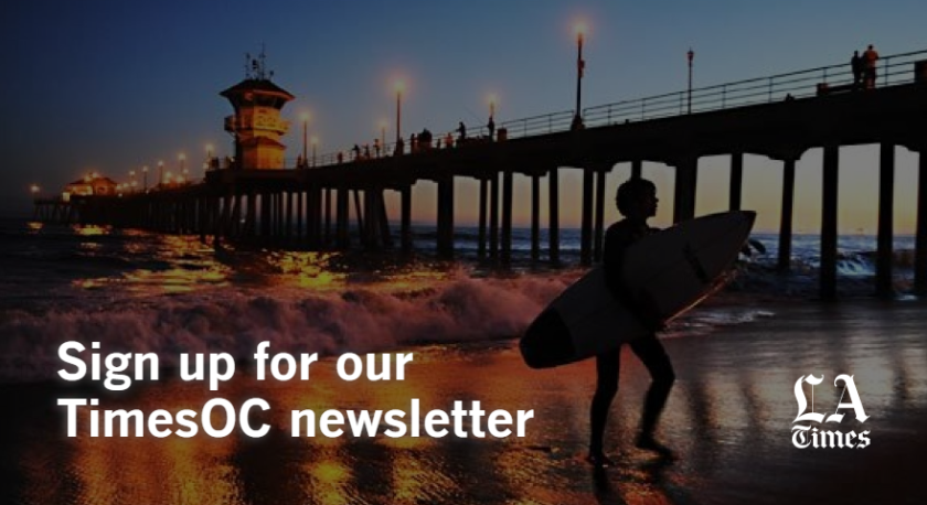 """Sign up for our TimesOC newsletter"" and the L.A. Times logo over the Huntington Beach Pier at sunset."