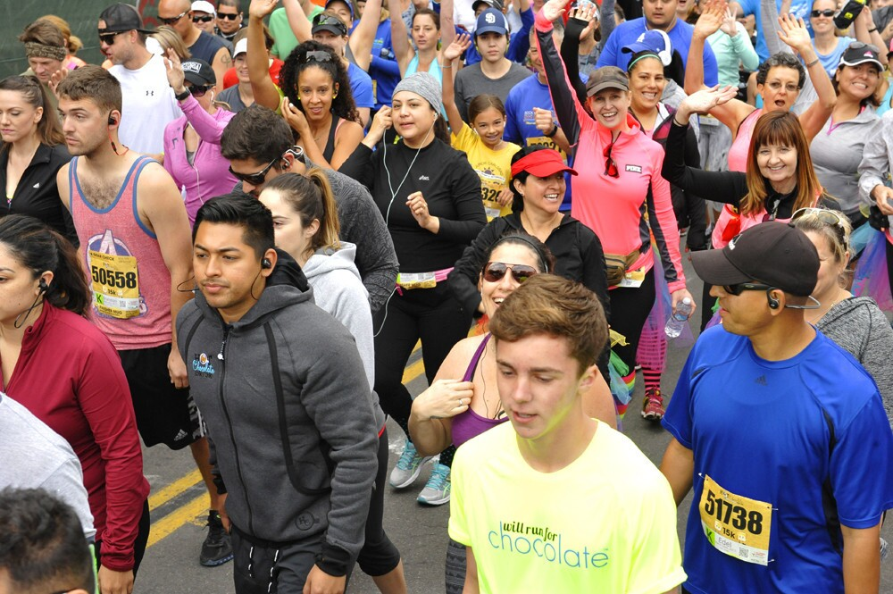 Runners who double as chocolate lovers joined together to race in the annual Hot Chocolate 15K and 5K, starting and finishing at Petco Park on Sunday, March 26, 2017.