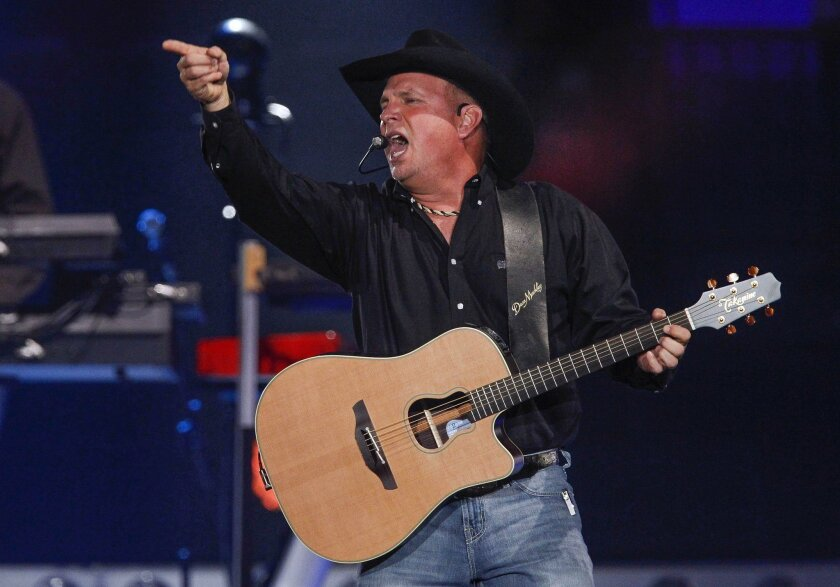 Country music superstar Garth Brooks performs at the first of his five-concert series at the Valley View Casino Center in San Diego.