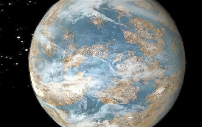 This image made from video provided by NASA shows an artist's rendition of what an Earth-like planet might look like. A top NASA official and other leading scientists say that within four or five years they should discover the first Earth-like planet located in a spot outside our solar system where life could develop, or may have already. (AP Photo/NASA)