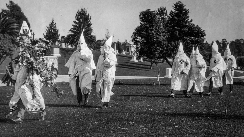 March 6, 1922: Members of the Ku Klux Klan at funeral for member at Inglewood Cemetery.