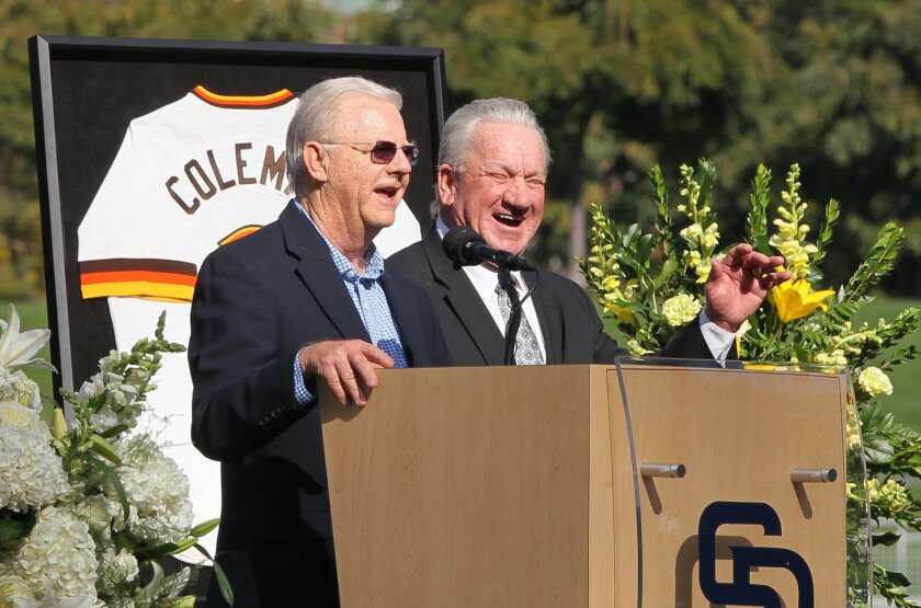 Padres broadcaster Jerry Coleman with Randy Jones at Jerry Coleman memorial