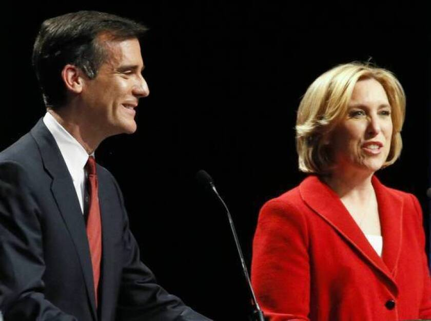 Recent union backing for Eric Garcetti has shrunk Wendy Greuel's labor money advantage from 100 to 1 down to 8 to 1.