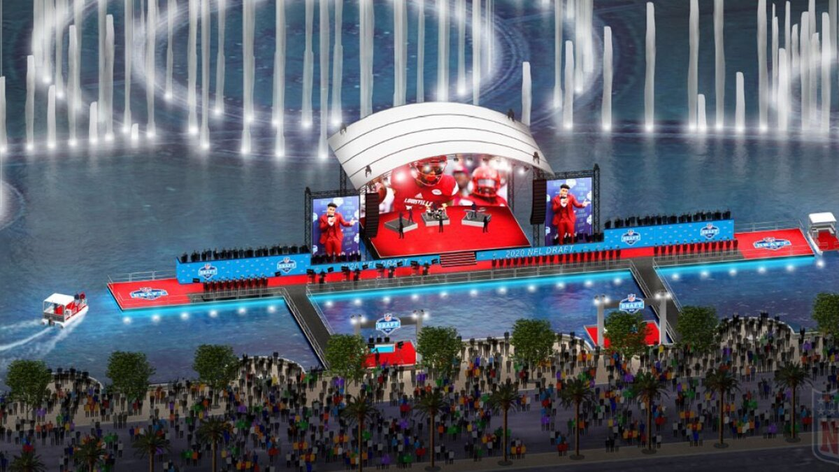 The 2020 Nfl Draft Stage Might Be On Bellagio Fountains Lake Los Angeles Times
