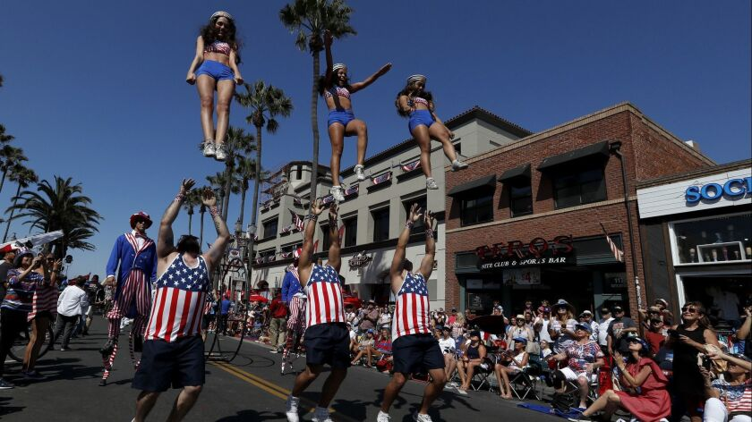 A drill team performs on Main Street in Huntington Beach during the 2018 Independence Day Parade.