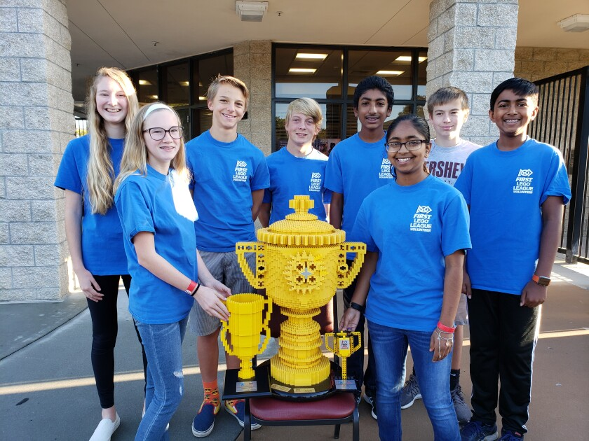 The Aviara Oaks Middle School Supersonic Falcons recently competed in the First Lego League City Shaper Challenge and were named Overall SoCal champions. Back row: Racquel, Artem, Drew, Rohan, Dean and Suchir. Front row: Quinn and Samitha.