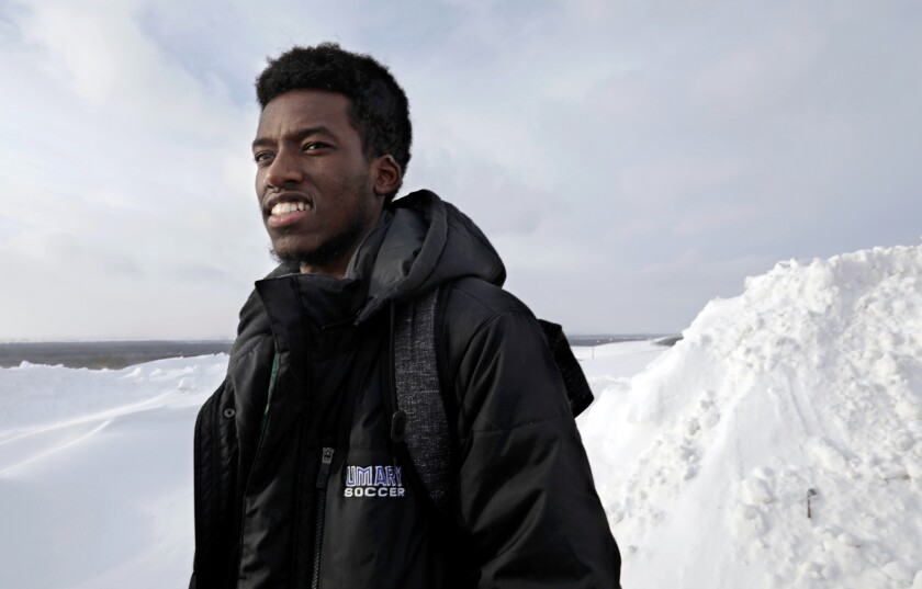 Tresor Mugwaneza, 20, is a Congolese refugee who arrived in the United States four years ago.