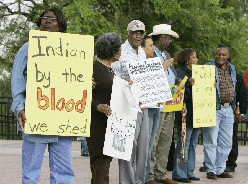 Waynetta Lawrie at the state Capitol in Oklahoma City in 2007 during a demonstration by Cherokee Freedmen and supporters.