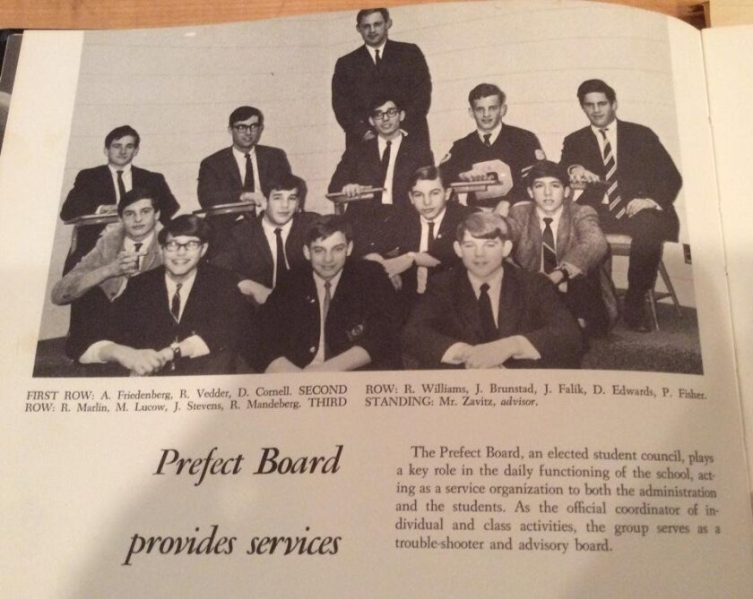 In this student council photo from the Detroit Country Day 1968 year book, Andy Friedenberg sits on the far left in the first row. Robin Williams is on the far left of the third row.