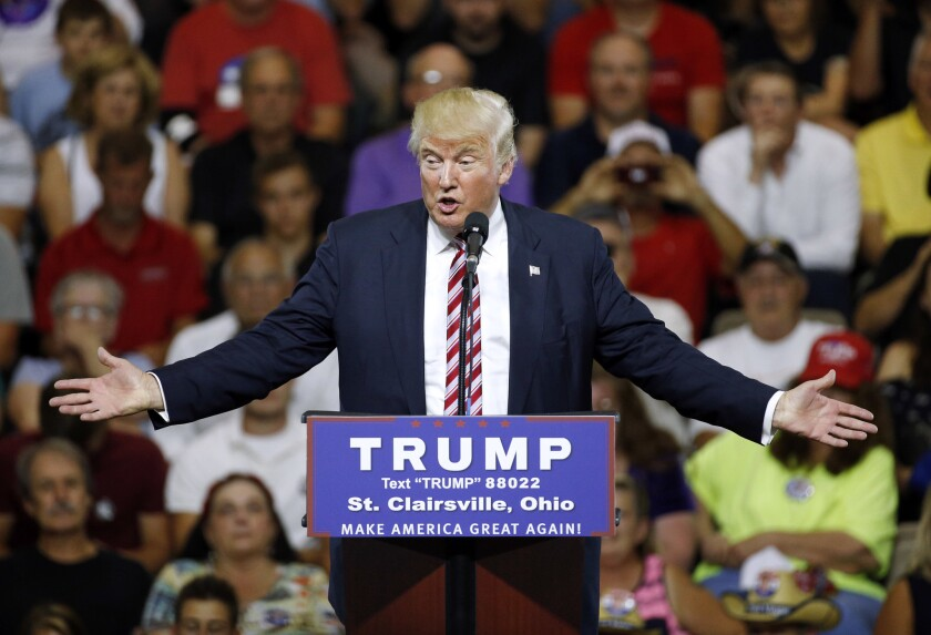 Republican presidential candidate Donald Trump speaks during a rally at Ohio University Eastern Campus in St. Clairsville, Ohio.