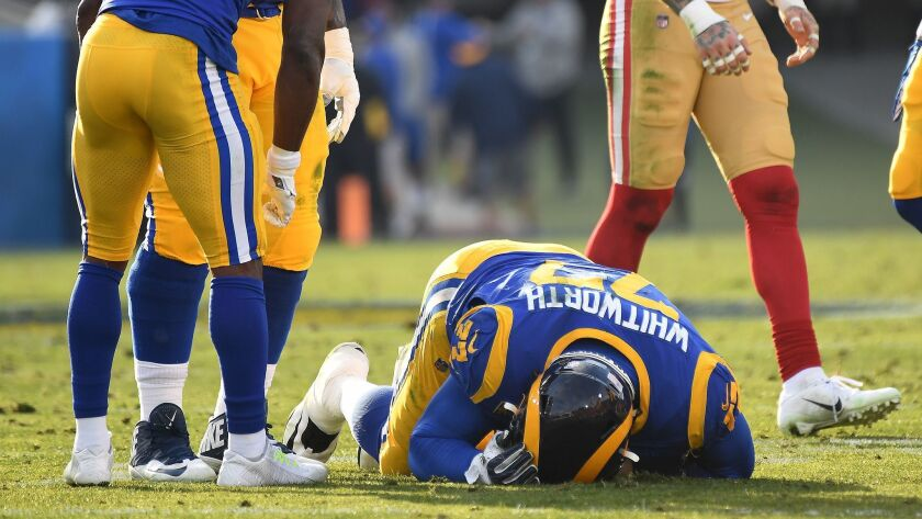 LOS ANGLELES, CA. DECEMBER 30, 2018-Rams tackle Andrew Whitworth is injured against the 49ers at the