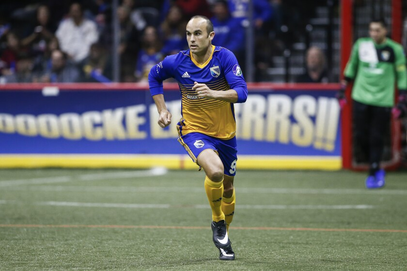 San Diego Sockers forward Landon Donovan (9) moves downfield in the first quarter against Tacoma.
