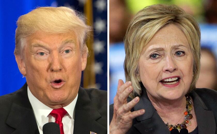 Esta combinaciÛn de fotografÌas muestra a los candidatos presidenciales estadounidenses Donald Trump y Hillary Clinton. La brecha de ingresos ha sido un tema central en las elecciones del 2016, con un cfeciente n˙mero de estadounidenses frustrados por la declinaciÛn de la clase media. (Foto AP/Mary Altaffer, Chuck Burton)