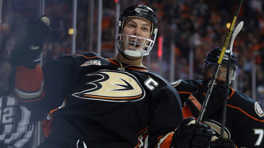 Ducks captain Ryan Getzlaf celebrates after scoring a goal against the Dallas Stars in Game 2 of the Western Conference quarterfinals. Getzlaf has carried over his impressive regular-season performance into the postseason.