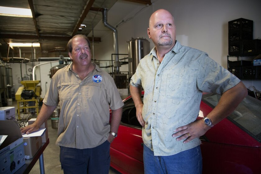 Jim Shirey and Doug Chase, partners in Chula Vista's soon-to-open -- they hope -- Bay Bridge Brewing.
