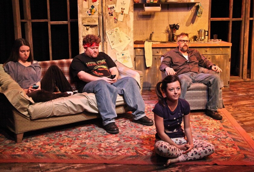 """Arielle Fodor, left, Kevin Shipp, Hannah Mae Sturges and Dirk Etchison star in the Road Theatre Company's production of """"The Mongoose,"""" written by Will Arbery and directed by Michael Thomas-Visgar."""