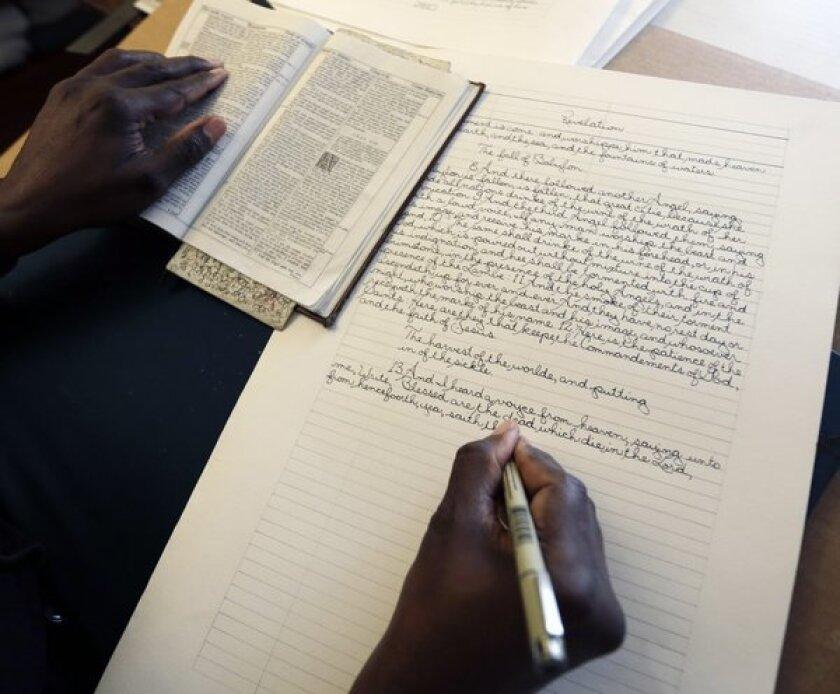 Phillip Patterson transcribing the King James Bible.