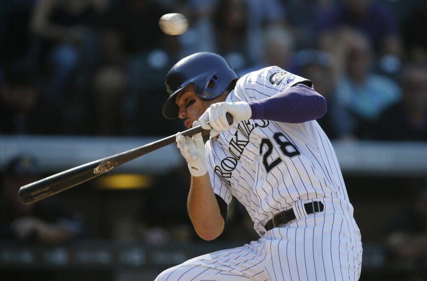 Colorado Rockies' Nolan Arenado dodges an inside pitch from Pittsburgh Pirates relief pitcher Joe Blanton in the seventh inning of a baseball game Thursday, Sept. 24, 2015, in Denver. Pittsburgh won 5-4. (AP Photo/David Zalubowski)