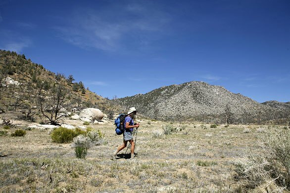 George Woodard, 69, hikes along the famed Pacific Crest Trail in May.