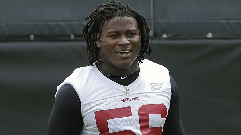Reuben Foster was released by the San Francisco 49ers in November and claimed on waivers by the Washington Redskins but remains on the NFL's Commissioner Exempt list.